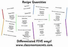 worksheets to change the quantities of recipes ideal for doubling halving ratio scaling and