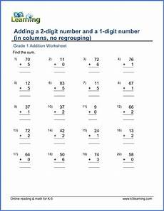 addition worksheets for grade 1 9383 add a 2 digit number and a 1 digit number in columns no regrouping k5 learning