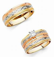 14k solid tri color gold trio wedding band bridal solitaire engagement ring ebay