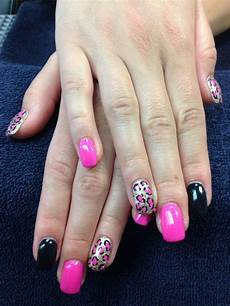katie s nails pink black and gold cheetah print gel nail