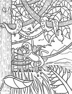 monkey hanging on snake rainforest coloring page