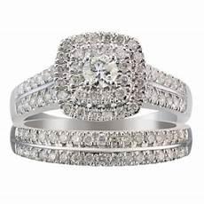 18ct white gold one carat diamond halo bridal ring