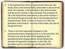 comparision parliamentary and presidential form of government with