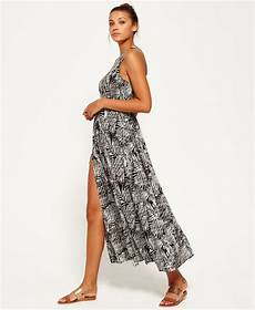 womens emilia smocked racer maxi in tropical leaves black superdry