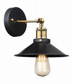 railway pioneer style metal wall light black with brass detail