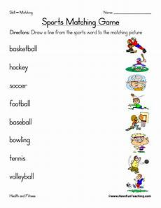 sports matching worksheet teaching
