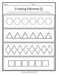 shape patterns worksheets 244 grade 1 patterning activity packet by teaching in a