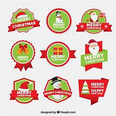 collection of merry christmas and new year stickers vector free download