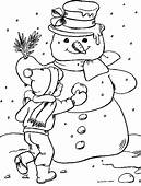 Snowman Winter Coloring Pages  For Kids