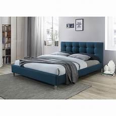 lit bleu 160 en tissu avec t 234 te de lit capitonn 233 e