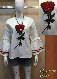 jual hitam putih baju atasan blouse katun import bordir bunga mawar casual lengan
