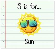 sun lettere flashcard letter s is for sun stock vector illustration