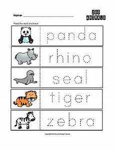 zoo animals trace the words worksheets preschool kindergarten tpt