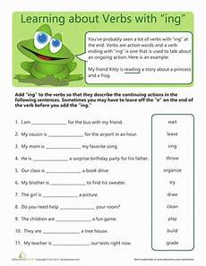 ing worksheets for 2nd grade verbs with quot ing quot worksheet education com