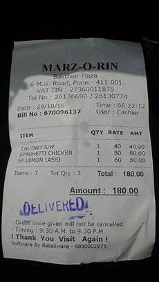 bill for the food picture of marzorin pune tripadvisor