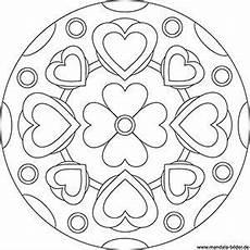 Malvorlage Blumen Mandala Mandala Vorlage Mit Herzen Und Einer Blume Mandala