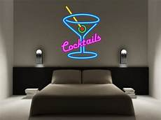 cocktails sign neon effect kitchen wall sticker decal graphic martini kapow boom