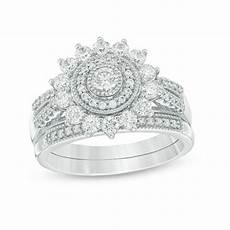 1 ct t w diamond double frame vintage style bridal in 14k white gold engagement rings