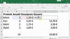 excel einstieg grundlagen rechnen einfache formeln