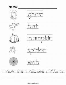 trace the halloween words worksheet twisty noodle