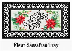 sassafras merry christmas poinsettias mat 10 22 insert doormat