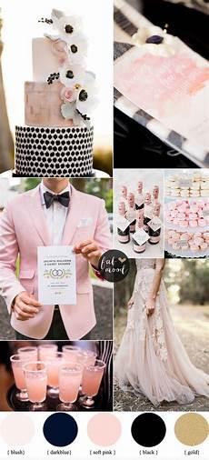 black and blush pink wedding color scheme