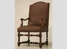 18th C. Antique French Leather Throne Chair for Sale   Old