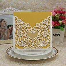 20pcs heart laser cut wedding invitations hollow out flower invitation cards envelope event