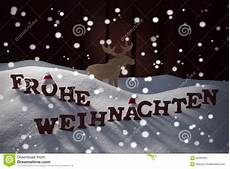 frohe weihnachten means merry moose stock photo