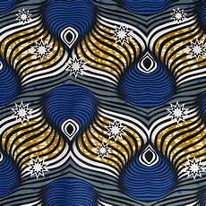 Tissu Coton Wax Motif Rond Bleu Et Jaune Mondial Tissus