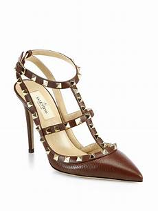 valentino rockstud leather slingback pumps in brown