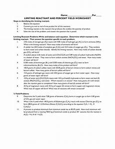 123 worksheet limiting reactant and percent yield free printables worksheet