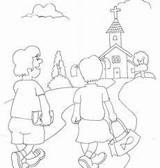 Mewarnai Gambar Gereja Untuk Anak Tk Warna Warni Gambar
