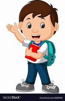 A Boy Clipart boy with backpacks vector image on rotina na