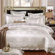 myru white silver color jacquard luxury cheap bedding sets 4 6 pcs queen king size lace cotton