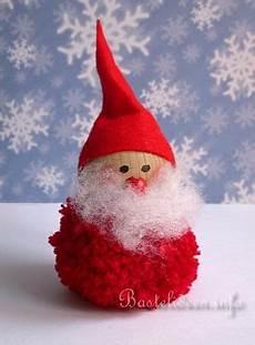 pom pom basteln pompom nikolaus basteln weihnachtsmann basteln