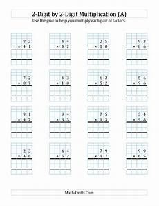 2 digit by 2 digit multiplication with grid support a multiplication worksheet