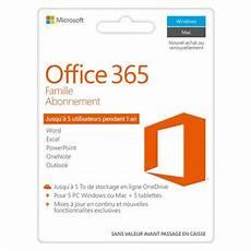 Logiciel Office 365 Famille Abonnement 1 An Microsoft Pas