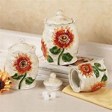 sunflower canisters for kitchen sunflower ceramic kitchen canister set kitchen canister