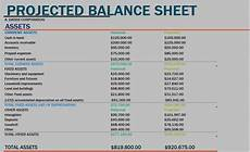 sle projected balance sheet template formal word templates