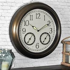 firstime 18 in round led trellis outdoor wall clock 50051 the home depot