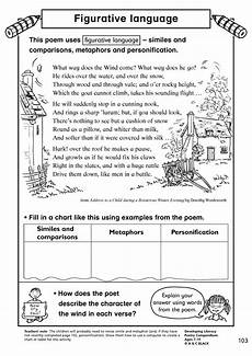 worksheets on figurative language in poetry 25440 figurative language poetry creating images home page