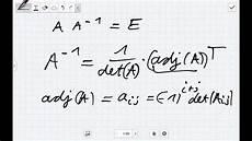 die inverse mit der adjunkten matrix bestimmen lineare
