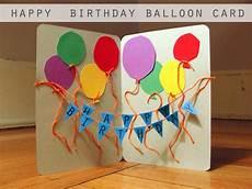 karte geburtstag basteln happy birthday balloon card the thrifty