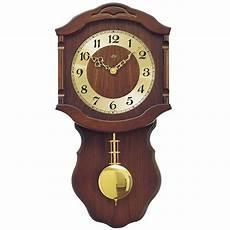 ams 964 1 wanduhr quarz mit pendel golden holz nussbaum