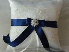 wedding ring bearer pillow navy blue and ivory satin and lace ringbearer pillow wedding