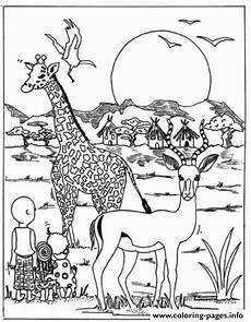 Ausmalbilder Tiere Afrika Giraffe In Africa Park Animal Sb81b Coloring Pages Printable