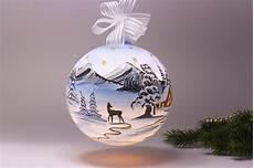 beleuchtete weihnachtskugeln beleuchtete glaskugel 18 cm mit winterlandschaft hellblau