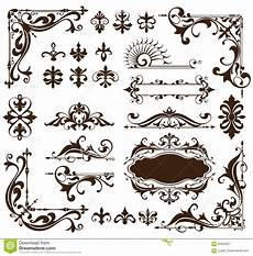 deco design elements of vintage ornaments and borders