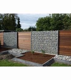 Gabionen In Verbindung Mit Holz Zaun Garten